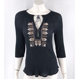 Joie Top Size XS Black Tan Floral Embroidered Boho